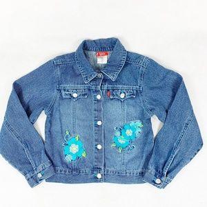 Levis Girls Jean Jacket Denim Embroidered Flower 8